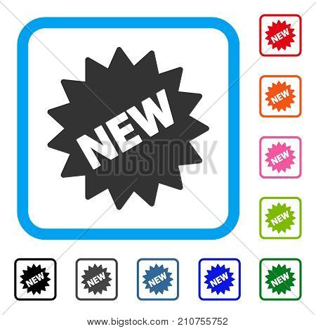 New Sticker icon. Flat gray pictogram symbol inside a light blue rounded rectangle. Black, gray, green, blue, red, orange color versions of New Sticker vector. Designed for web and software UI.