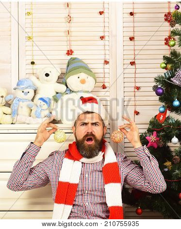 Festivals And Decor Concept. Santa Claus With Angry Face