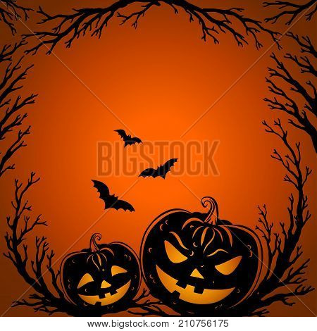 Halloween background. Scary tree twigs flying bats and halloween pumpkin lanterns on orange background. Halloween Party design template. Vector