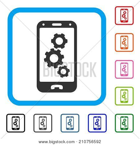 Smartphone Settings Gears icon. Flat grey iconic symbol inside a light blue rounded square. Black, gray, green, blue, red, orange color variants of Smartphone Settings Gears vector.
