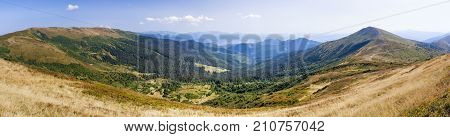 Pano View Of Carpathian Mountains Near Drahobrat.
