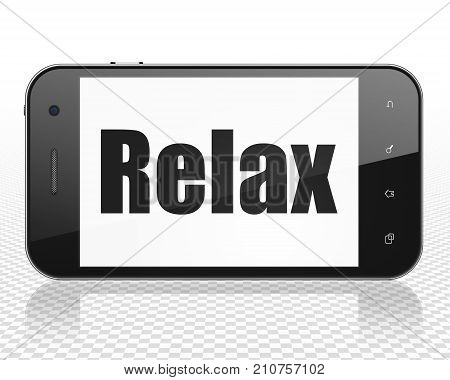 Tourism concept: Smartphone with black text Relax on display, 3D rendering