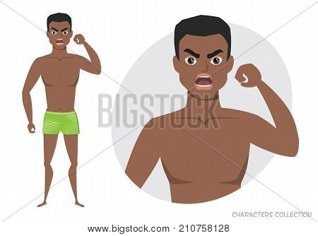 Angry black african american men. Negative Emotions. Bad Days. Bad Mood. Stressful men. Men in a beach swimming trunks