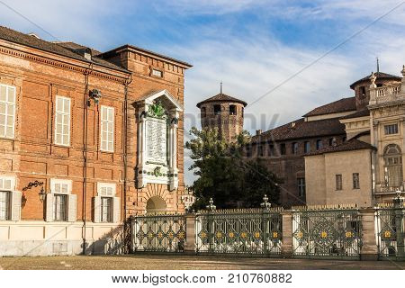 TURIN, ITALY - SEPTEMBER 02, 2017: Medieval tower at Palazzo Madama, Piazza Castello, Turin (Torino)
