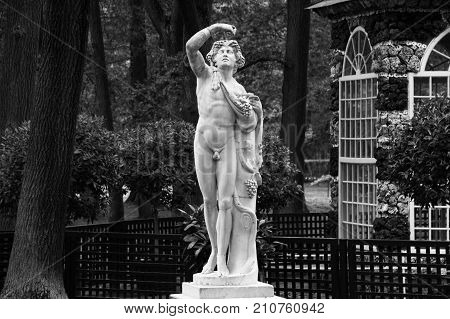 PETERHOF, SAINT-PETERSBURG, RUSSIA - JUNE 10, 2016: Antique marble statue in Peterhof lower park. Aviary Pavilion in the Lower Gardens of Peterhof. Black and white photo.