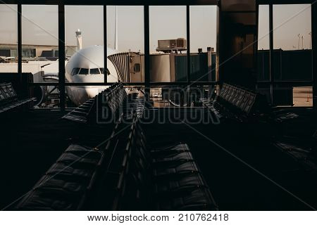 Boarding In Plane. View From Terminal Inside