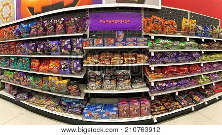 San Leandro CA - October 12 2017: Grocery store aisle with Halloween candy and treats. Trick-or-treating is a Halloween custom for children in many countries.