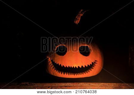 pumpkin head with a terrible smile in the dark , Preparation for the holiday, All Saints Day