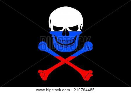 Black pirate flag with the image of Jolly Roger with crossbones combined with colors of the Russian flag poster