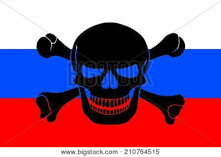 Russian flag combined with the black pirate image of Jolly Roger with crossbones poster
