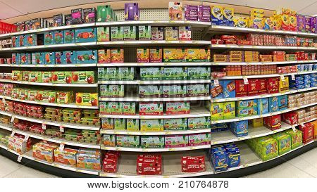 San Leandro CA - October 12 2017: Grocery store isle with snack foods for kids. Apple sauces and snack crackers.