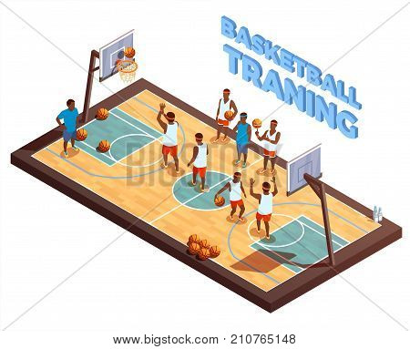 Basketball isometric composition with hardwood court and basketball team with human characters of players and coach vector illustration