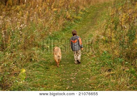 Little Boy And Dog Walking Outdoor