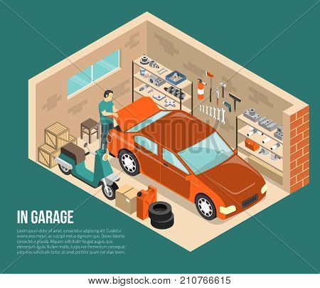 Garage inside on green background with man near car, shelves with tools and spares isometric vector illustration