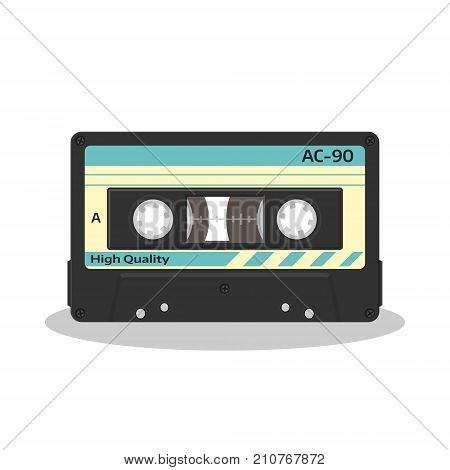 Audio cassette in retro style isolated on a white background. Vintage style music storage icon. Old record player tape. Vector illustration.