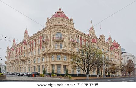 Rostov-on-DonRussia - October 212017: The building of the City Duma 1899. Architect A. Pomerantsev. Nearby there are cars and pedestrians