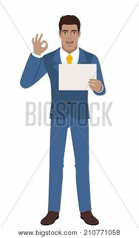Businessman showing a a paper and show a okay hand sign. Full length portrait of Black Business Man in a flat style. Vector illustration.