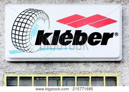 Souillac, France - June 6, 2017: Kleber logo on a wall. The Kleber company will be absorbed in 1981 by Michelin
