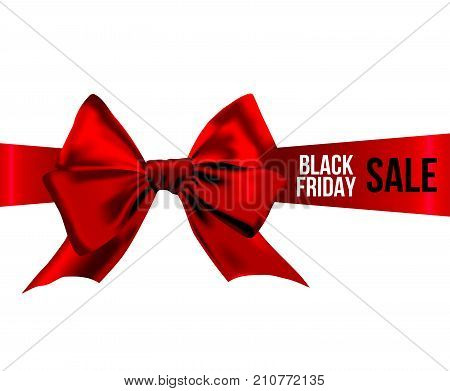 Red bow with BLACK FRIDAY SALE words in white and black colors on red ribbon. BLACK FRIDAY sale design poster isolated on white background. Concept for your design.