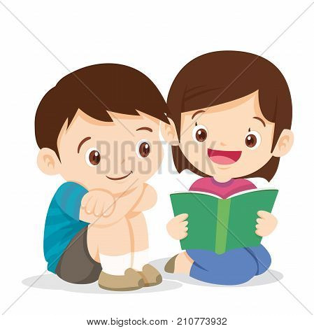 kidsboy and girl sit and read book. Cute boy listen girl reading a book.