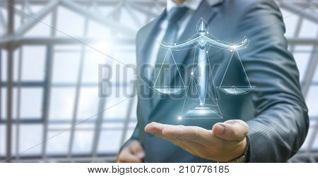 Lawyer Demonstrates The Scales Of Justice .