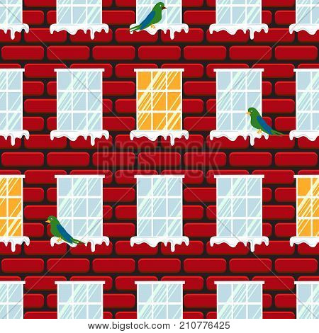 Windows seamless vector pattern and red brick wall building. Birds on snow cornice in winter.