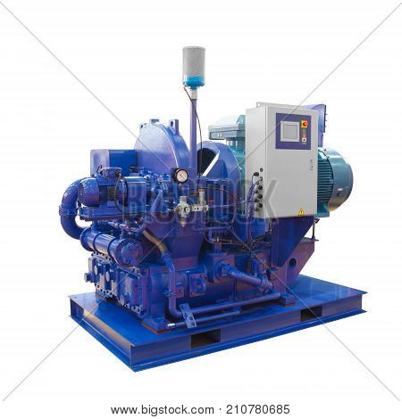 Large industrial turbo high pressure compressor on white
