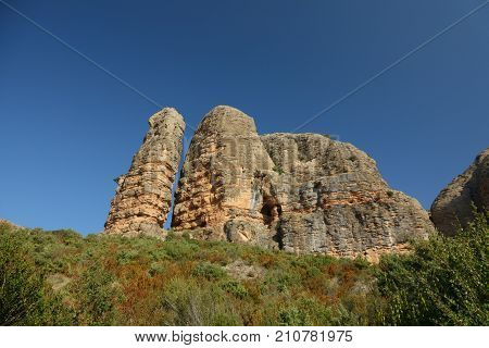 Wide angle view of the vertical rocks characteristic rocks in Aguero, Huesca, Spain