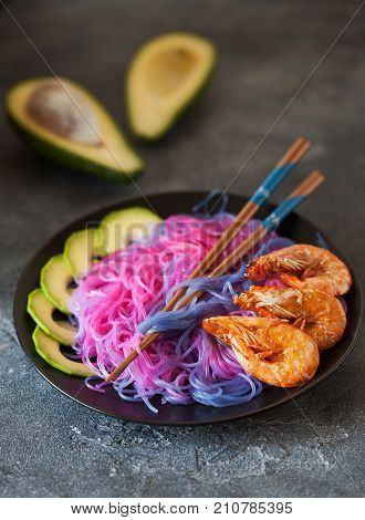 Purple Funchosa With Avocado And Shrimps