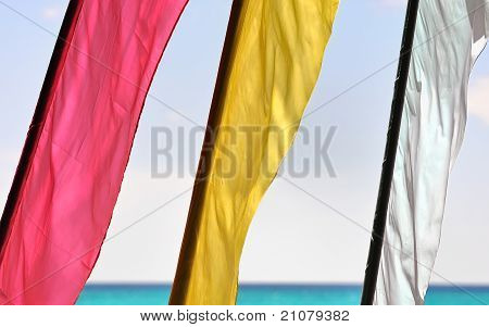Three Flags Blowing In The Tropical Wind