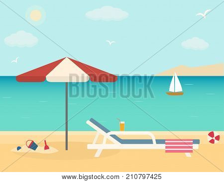 Beach chair with umbrella on sandy beach. Flat style vector illustration.