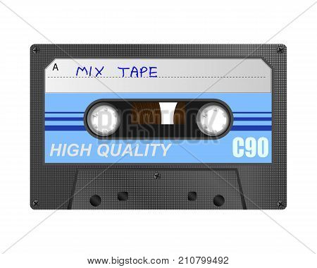Detailed retro C90 audio cassette with mix tape hand written title