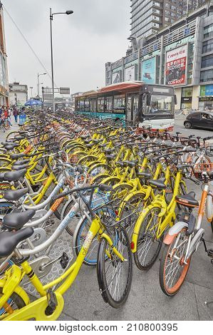 Chengdu, China - September 30, 2017: Public Shared Bicycles Parking In Downtown Chengdu.