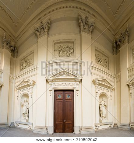 Unusual perspective shot of the door entrance to Neue Kirche in Berlin, Germany