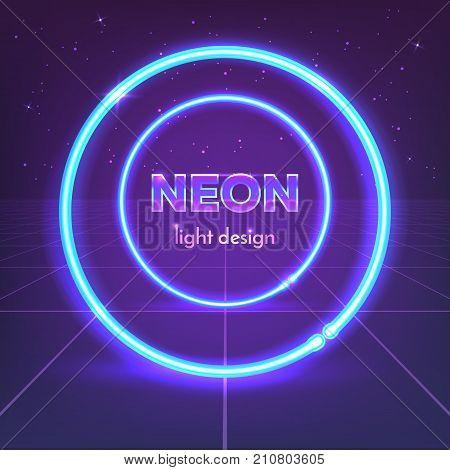 Retro 80's neon circles on digital landscape. Vector illustration