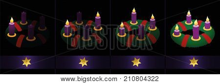 Advent wreath with purple candles - one, two, three and four burning candles to light up the darkness - numbered with golden stars from first to fourth Sunday of Advent. Vector on black background.