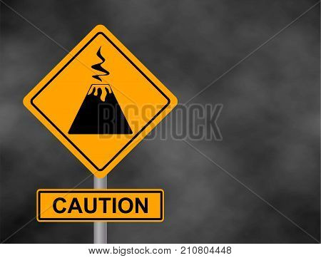 Background of dark grey sky with cumulus clouds and yellow road sign with text Danger Volcano. Bord the caution of a volcanic eruption. Vector illustration