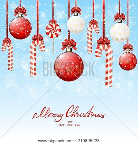 Set of red and white Christmas balls and candy canes with bow on blue snowy background with snowflakes, illustration.