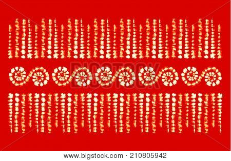 Tie dye art brushes. Print in Shibori style. Ribbon ornament, ribbon, border. Ethnic jewelry. Fashion embroidery for women's clothing. Elements of batik on fabric.