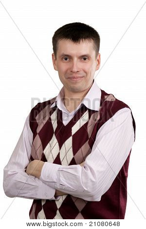 Portrait Of A Man In A Plaid Vest And Shirt