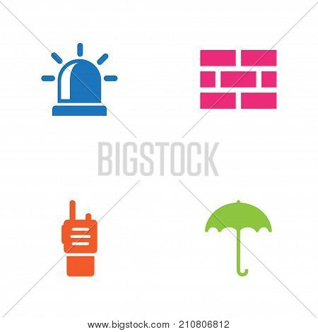 Collection Of Alarm, Walkie-Talkie, Insurance And Other Elements.  Set Of 4 Procuring Icons Set.