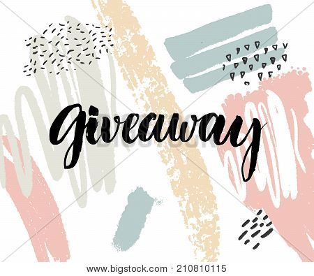 Giveaway banner with modern calligraphy and abstract pastel background with paint strokes