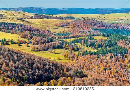 Colorful autumn landscape of the Vosges Mountains in Haut-Rhin, France