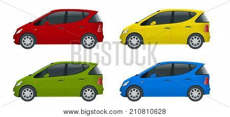 Small Compact Electric vehicle or hybrid cars. Eco-friendly hi-tech auto. Easy color change Template vector isolated on white View side