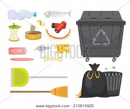 Trash and garbage set illustrations in cartoon style. Biodegradable, plastic and dumpster icons