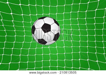 Soccer ball in the net. Vector illustration
