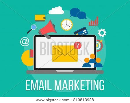 Email marketing concept. Laptop with envelope on screen. Flat design illustration with business elements. Internet marketing.
