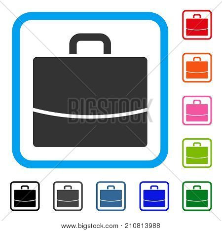 Briefcase icon. Flat grey pictogram symbol in a light blue rounded rectangular frame. Black, gray, green, blue, red, orange color versions of Briefcase vector. Designed for web and app user interface.