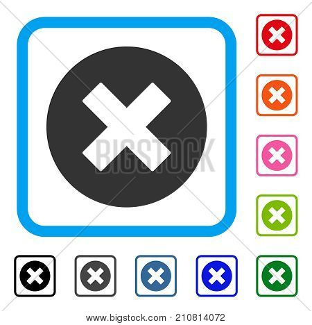 Cancel icon. Flat grey iconic symbol inside a light blue rounded rectangular frame. Black, gray, green, blue, red, orange color variants of Cancel vector. Designed for web and app user interface.