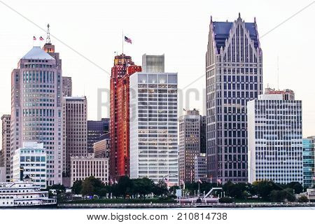 Detroit MI USA - 2nd October 2016: Iconic Buildings lining the Detroit River Waterfront as viewed from Windsor Ontario Canada at dusk.